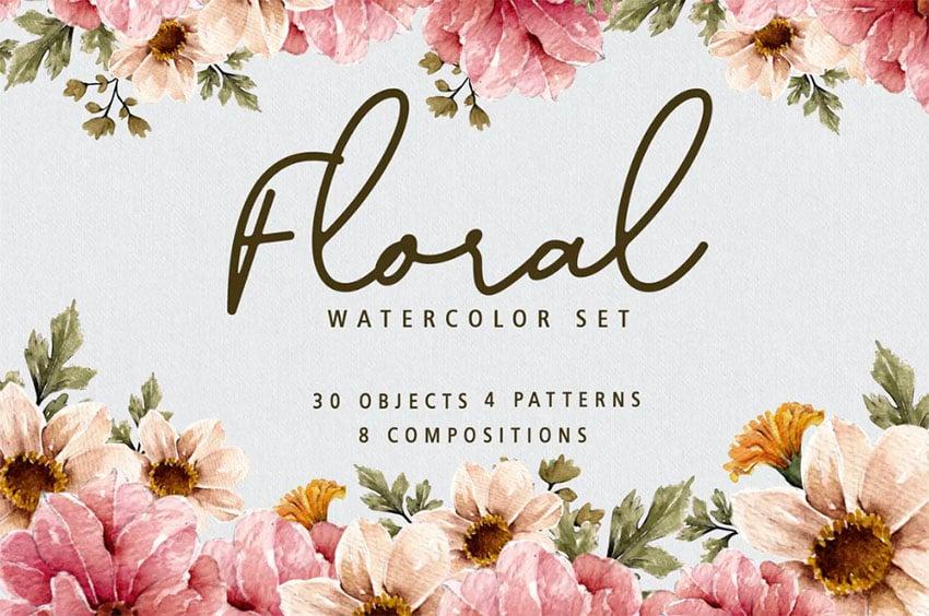 Floral Botanical Watercolor Set