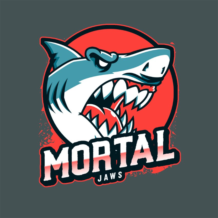 Sports Logo Template Featuring a Deadly White Shark Graphic