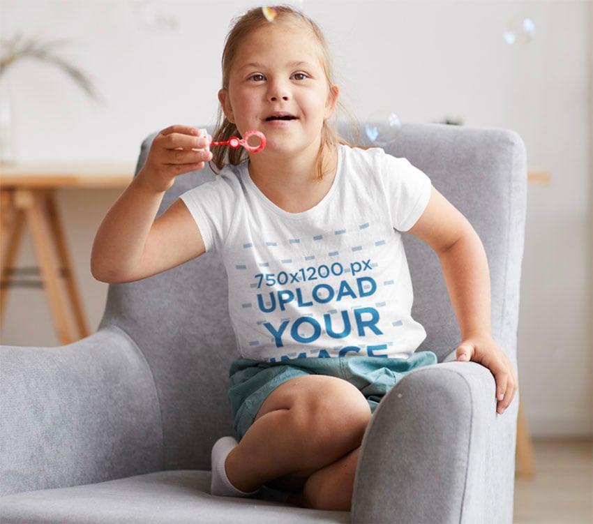 Kids White T-Shirt Mockup
