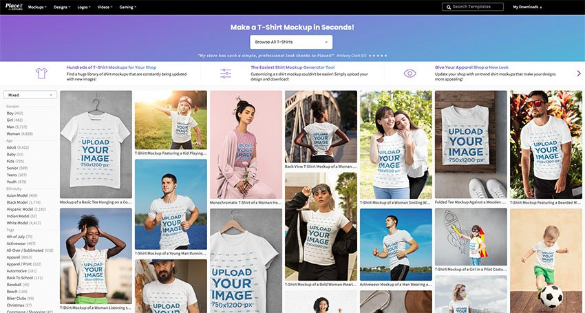 Go to Placeit.net > Mockups > T-Shirts