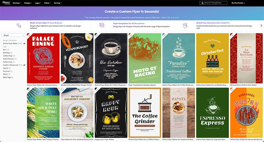 Go to Placeit.net > Design > Flyers > Select Foodie/Restaurant from Side Column
