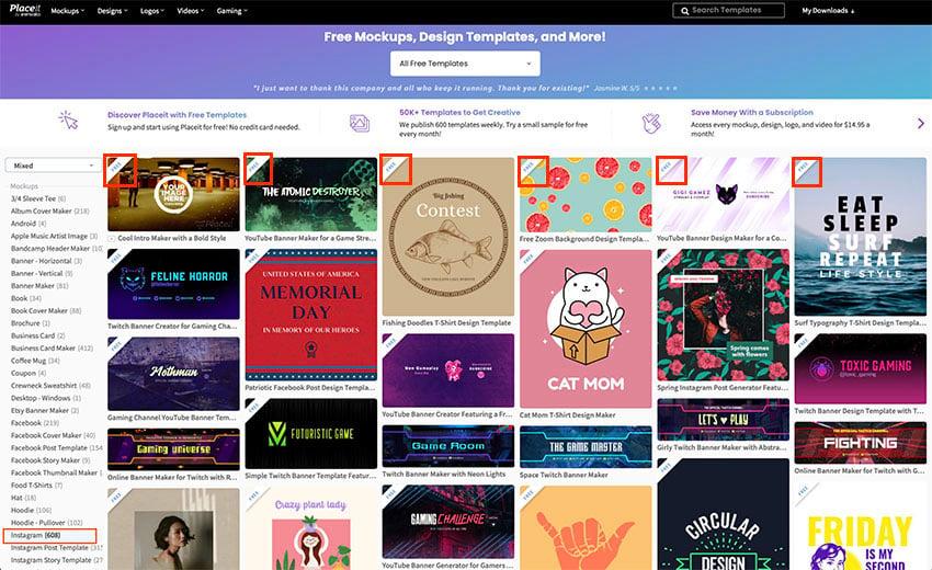 Choose Instagram, Instagram Post or Instagram Story Templates