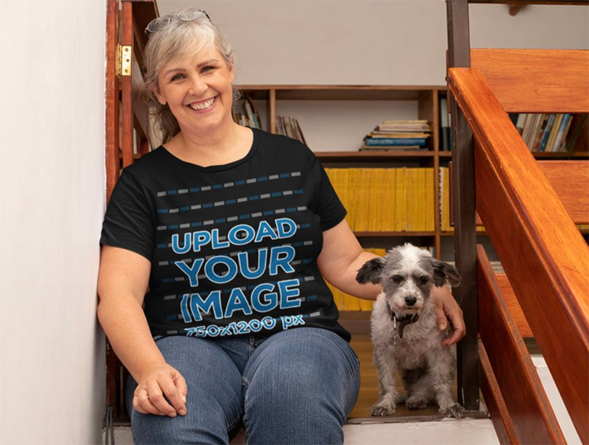 Pet with Woman in Black Tee Shirt Mockups