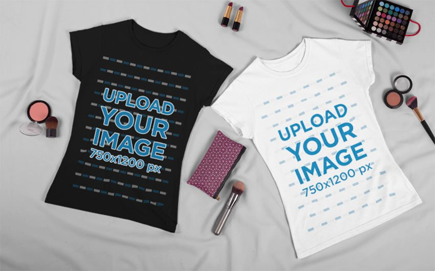 White and Black T-Shirt Mockup Template