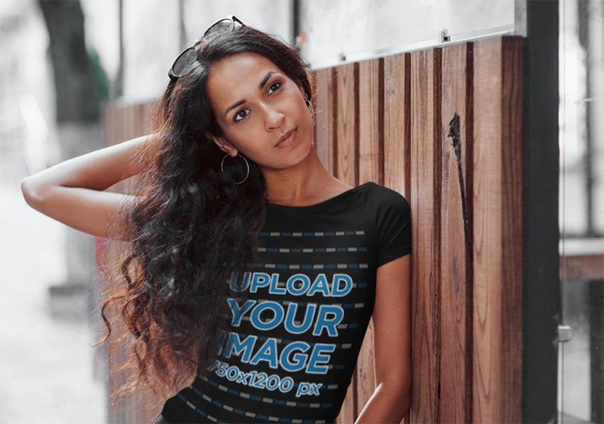 Woman with Black T-Shirt Mock up