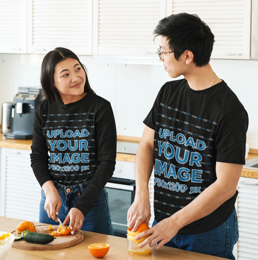 Couple with Black T-Shirt Mockup