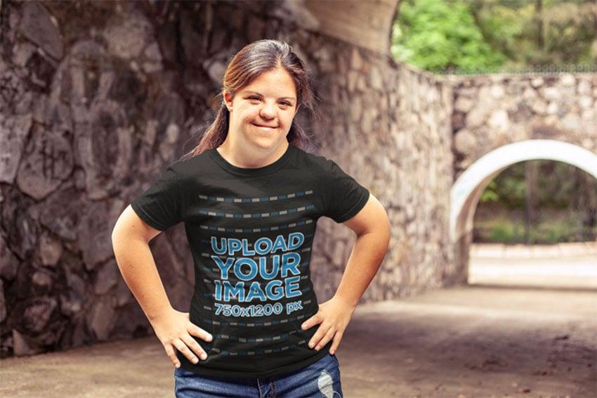Young Girl and Black Tee Shirt Mockup