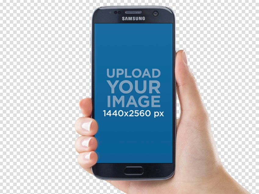 Android Phone in Hand Mockup PNG