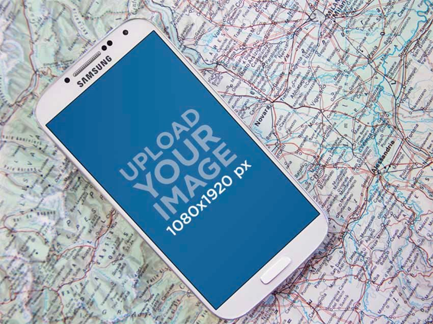 Android Phone Mockup Against Map