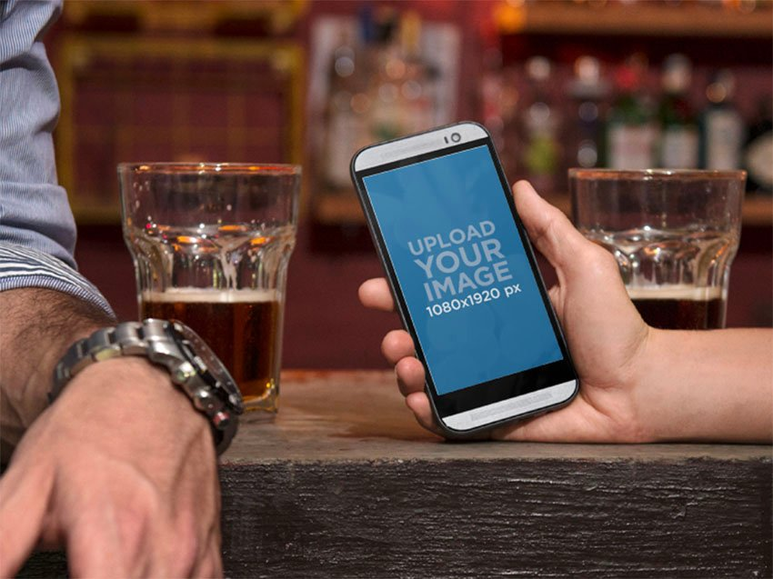 Android Mockup in Bar