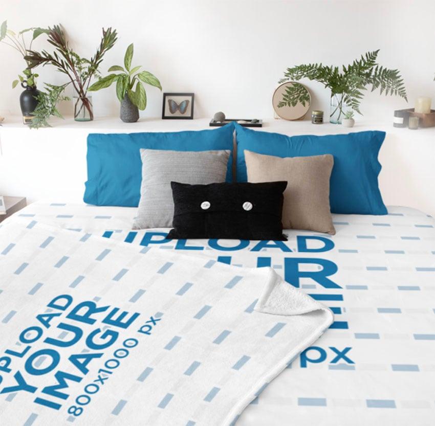 Throw Blanket Mockup with Bed Linen Mockup