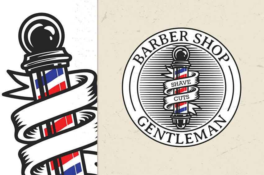 Barber Shop Vintage Logo Template