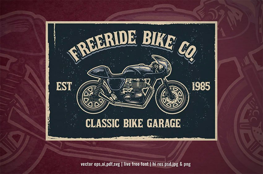 Retro Vintage Logo with Motorcycle