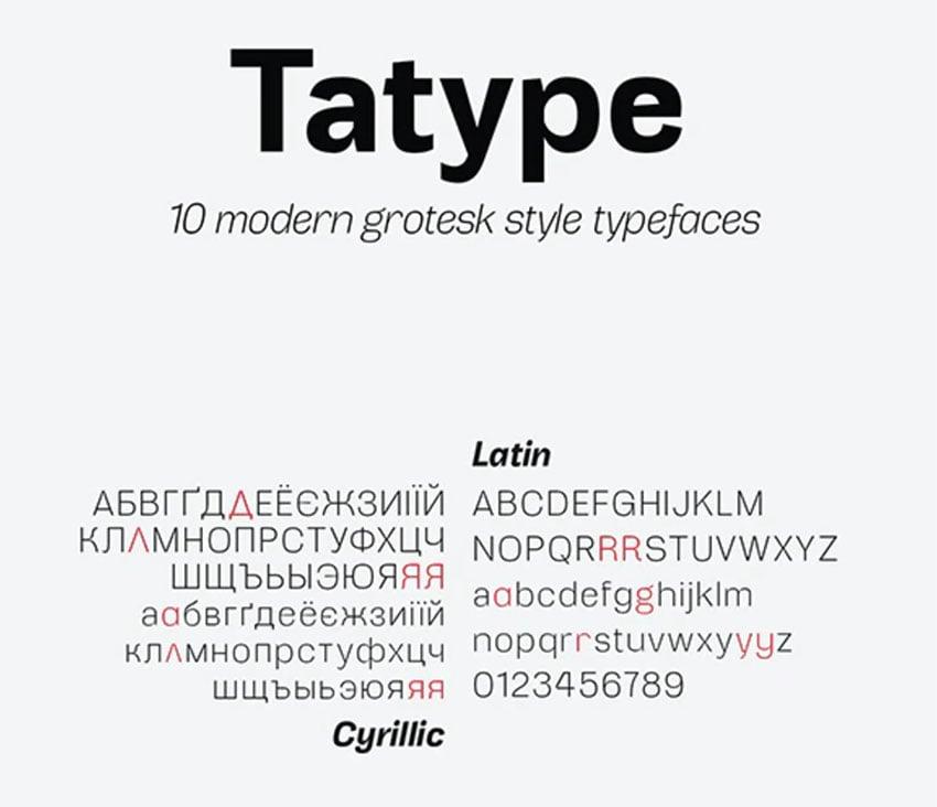 Tatype Russian Style Font Family