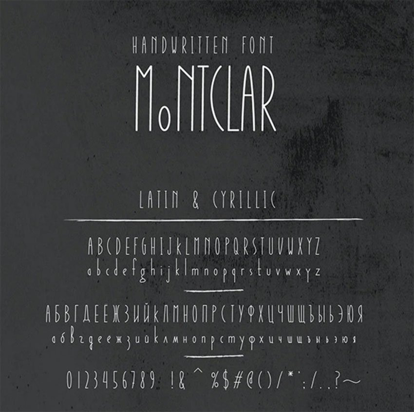 Montclar Russian Character Font & Food Icons