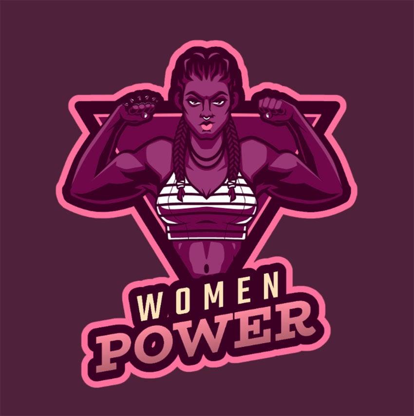 Woman Power Logo Gaming Maker