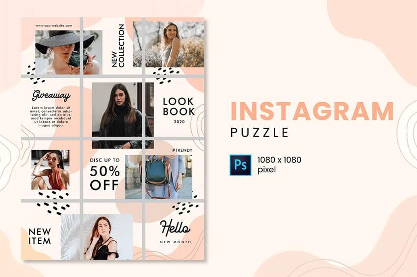 LookBook Instagram Grid Puzzle Template