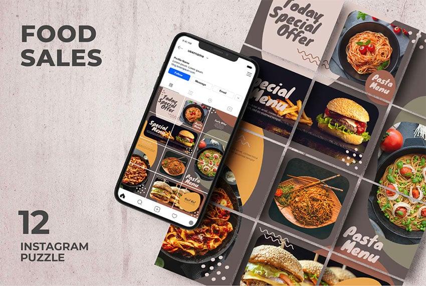 Food Sales - Instagram Grid Puzzle Template