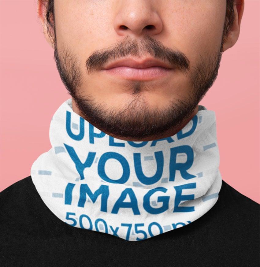 Mockup Featuring a Bearded Man Wearing a Tubular Bandana