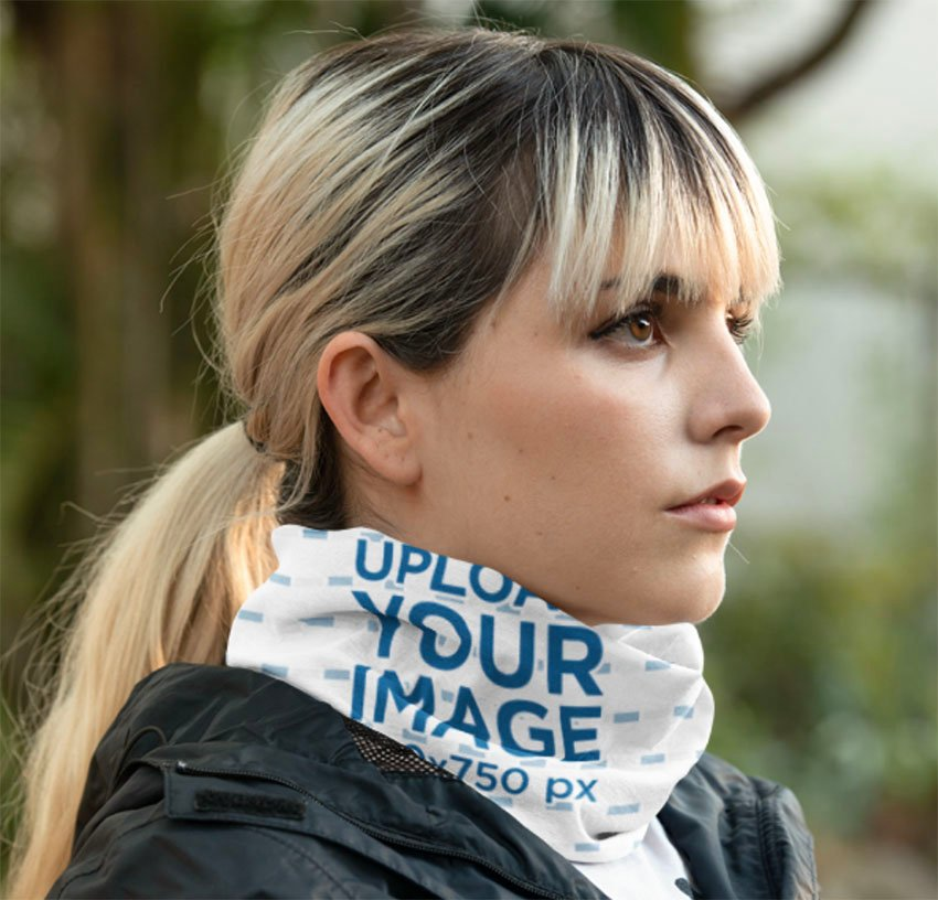 Mockup of a Young Woman Wearing a Neck Gaiter on the Street