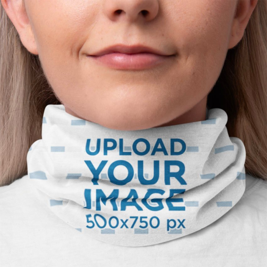Neck Gaiter Mockup of a Smiling Woman