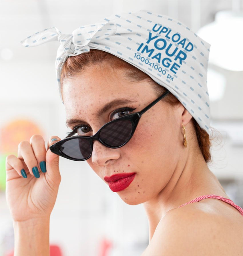 Handkerchief Mockup of a Woman Wearing a Bandana around the Head