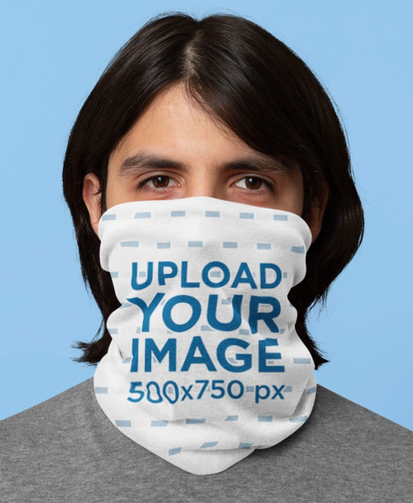 Mockup of a Long-Haired Man Wearing a Neck Gaiter