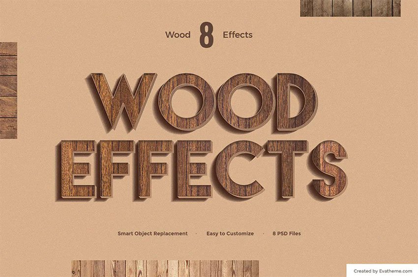 8 Wood Photoshop Styles for Text