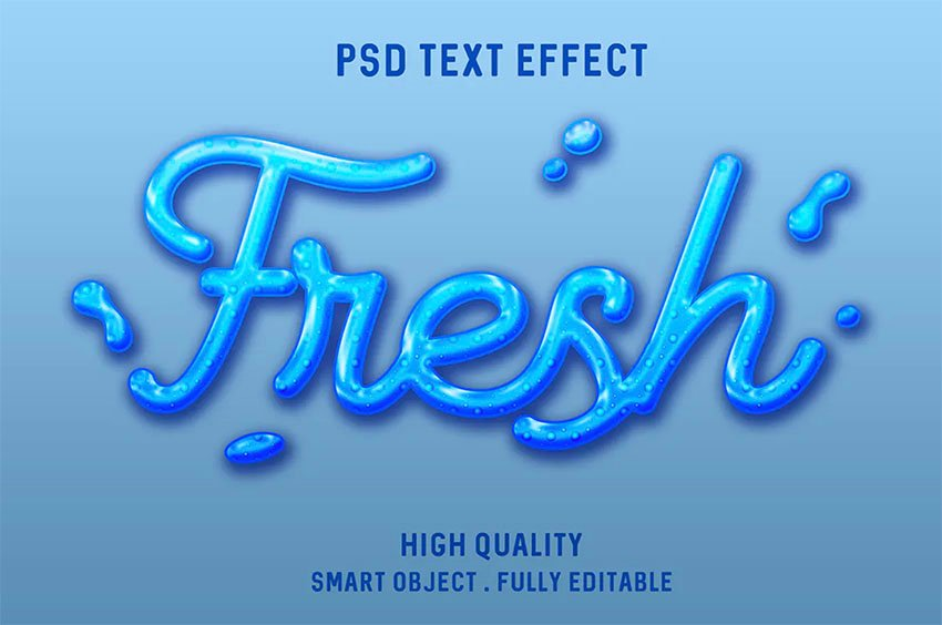Liquid Water Photoshop Styles for Text
