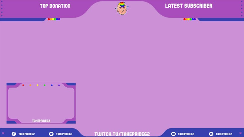Twitch Frame and Webcam Overlay with an LGBTQ Avatar Graphic
