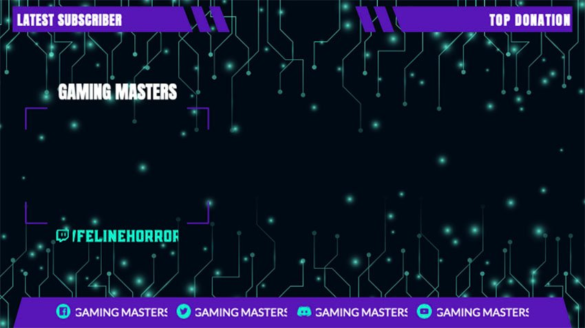 Webcam Border PNG for a Gaming Channel with Tech-Circuit Graphics