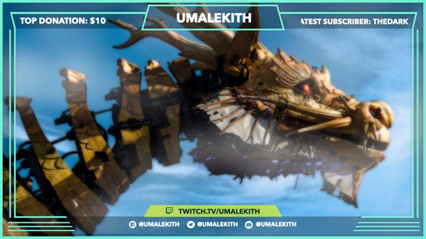 Twitch Overlay Template with Dragon Background for Twitch Gamers