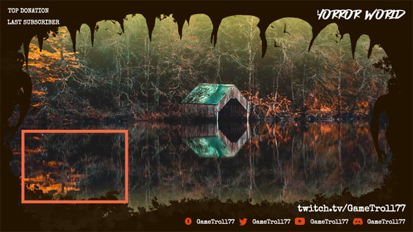 Twitch Stream Overlay with a Webcam Frame Featuring a Cabin in the Woods