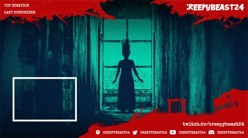 Twitch Overlay Maker Featuring a Webcam Frame for a Horror Live Stream Gameplay