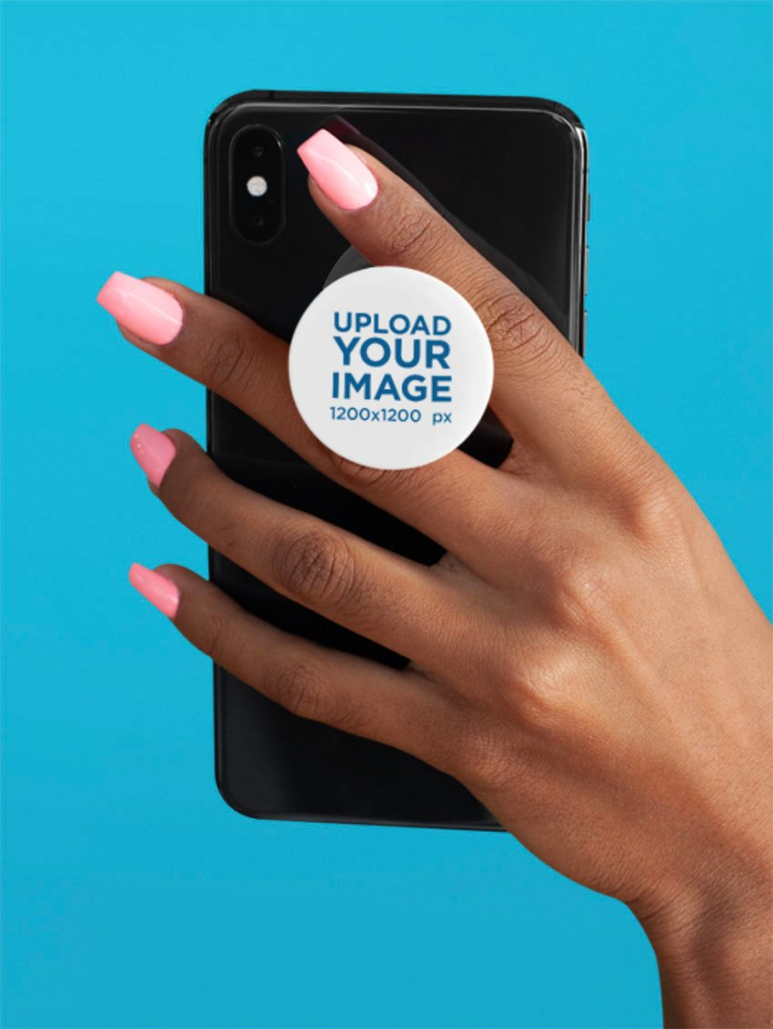 Hand Holding a Phone with a Blank Phone Grip on a Plain Background