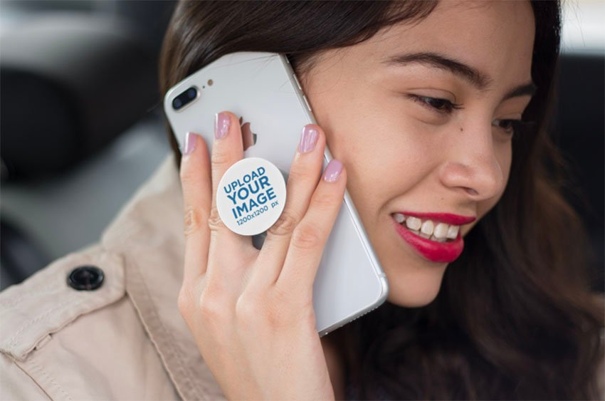 Cell Phone Grip Mockup Featuring a Happy Woman
