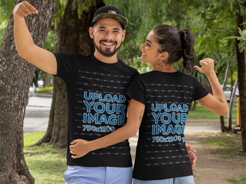 Black Shirt Front and Back Mockup