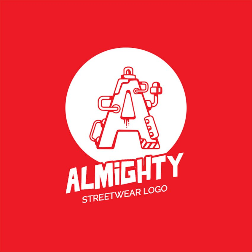Streetwear Clothing Brand Logo Design with Mechanical Alphabet Letters