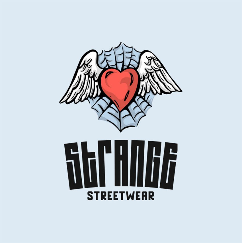 Streetwear Brand Logo with a Winged Heart Icon