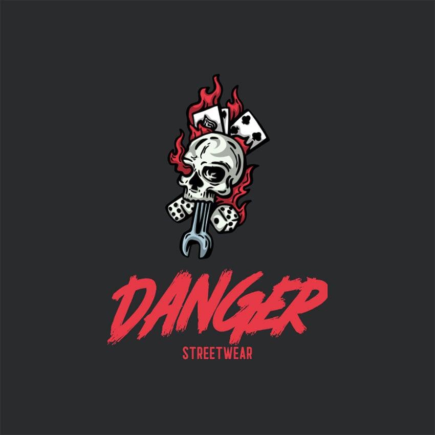 Streetwear Brand Logo Design with Flaming Skull