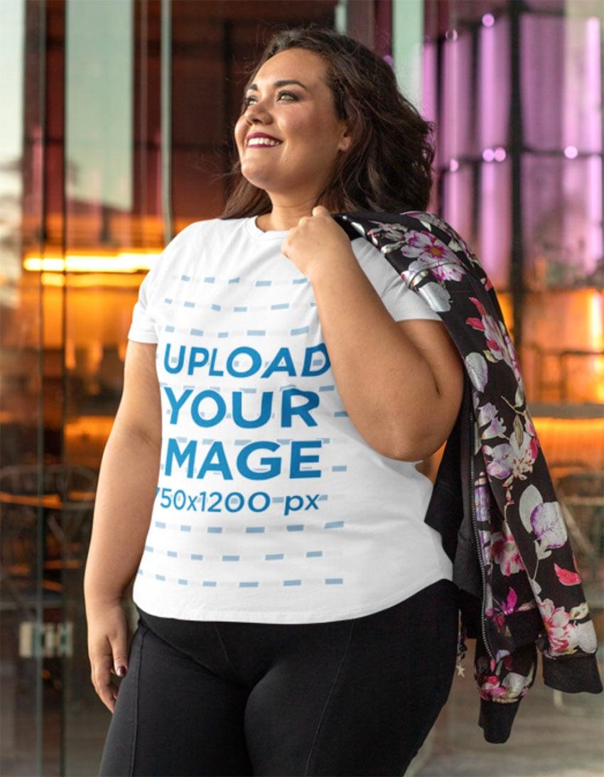 Smiling Woman Wearing T-Shirt Mockup Size