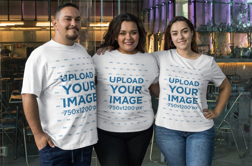 Plus T-Size Mockup Featuring a Group of Smiling Friends