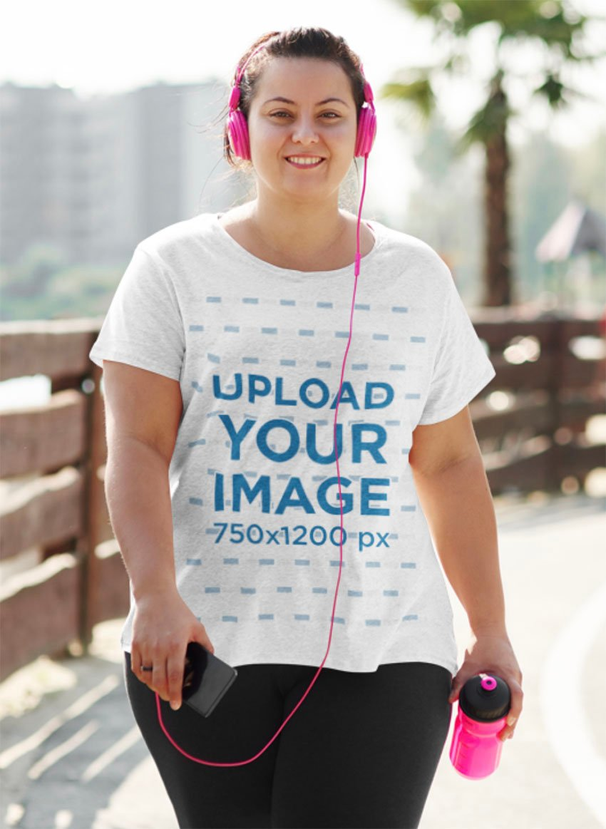 T-Shirt Mockup Size Template of a Woman on Her Way to Work Out