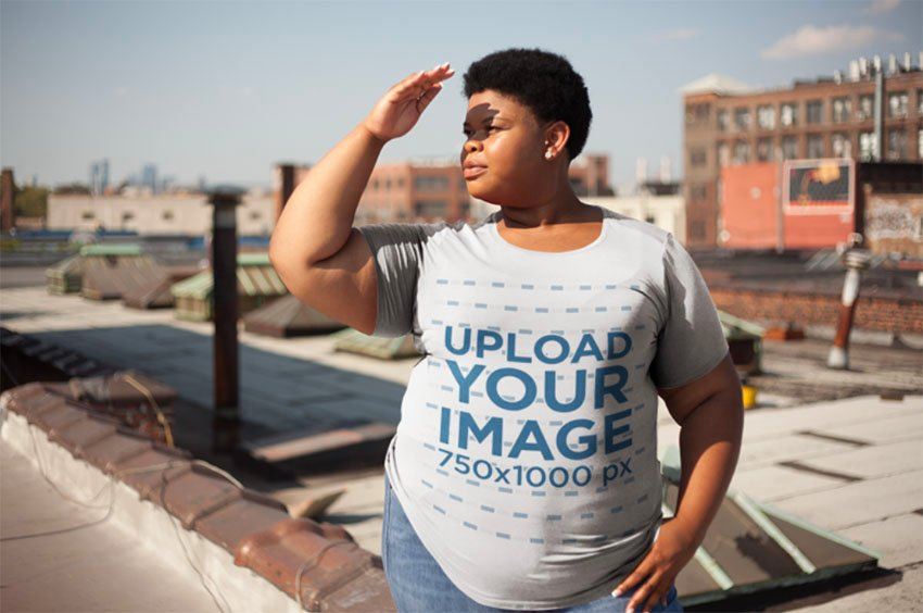 Plus Size T-Shirt Mockup with Womanon Rooftop