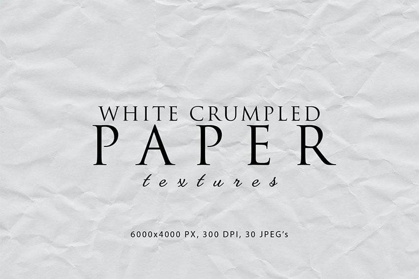 White Crumpled Grunge Paper Overlay