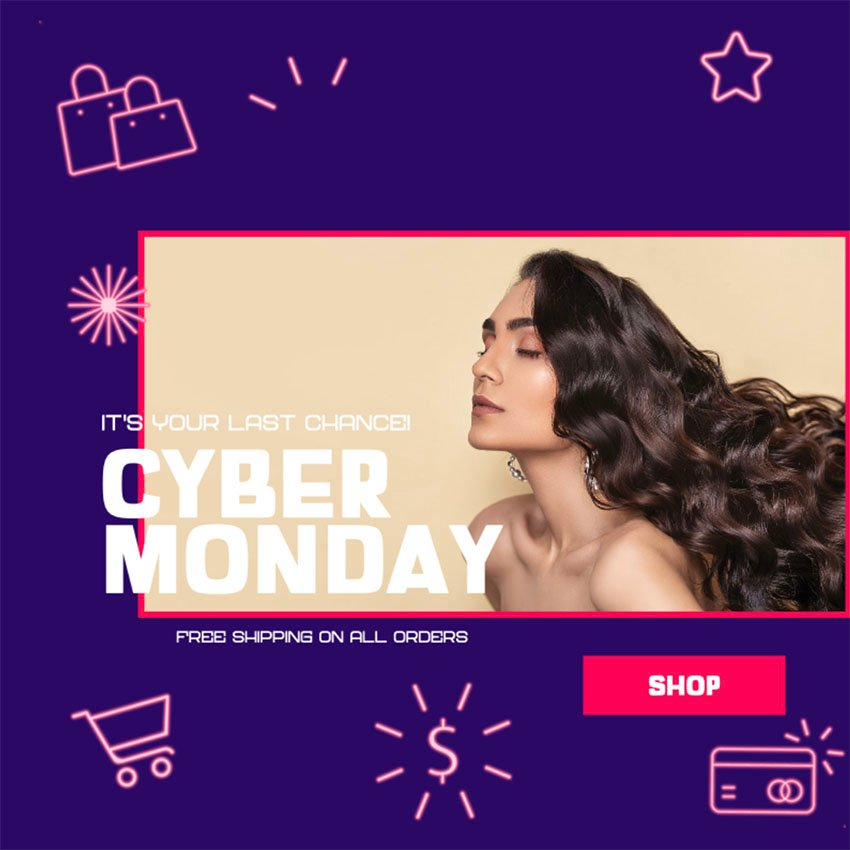 Facebook Ad Post Template to Promote Cyber Monday Sales