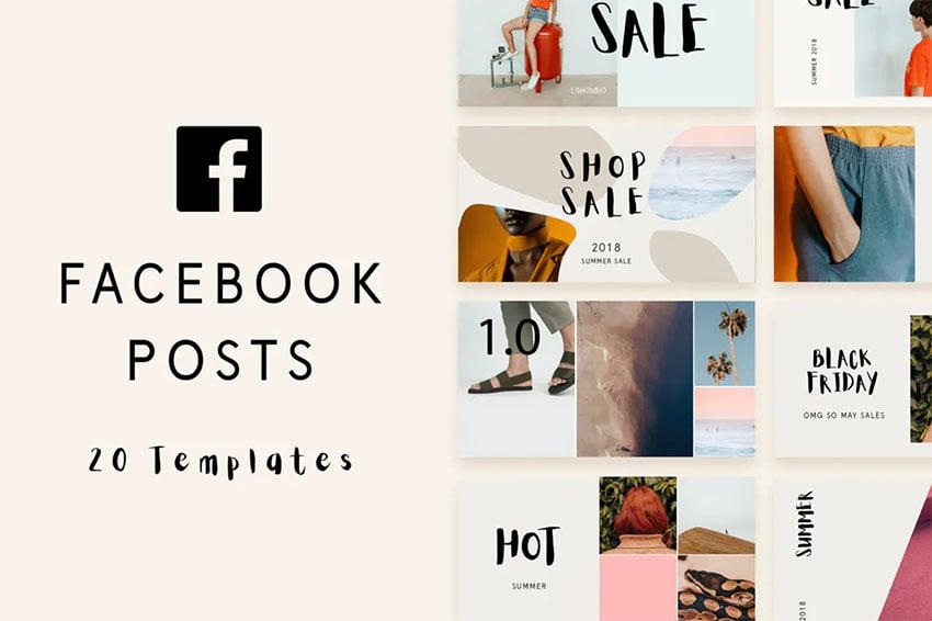 Minimal Facebook Post Photoshop Templates