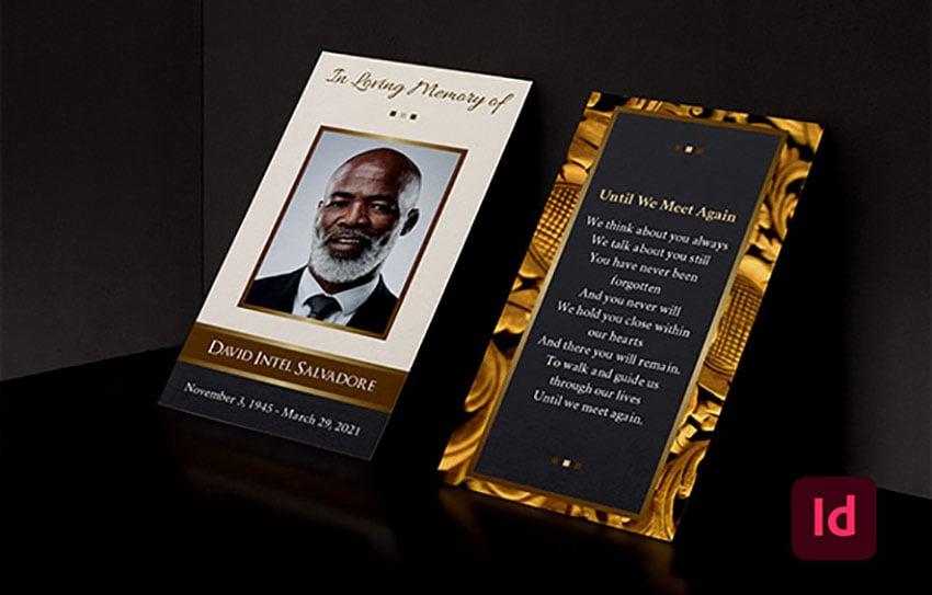 Golden Life Funeral Program Obituary Template