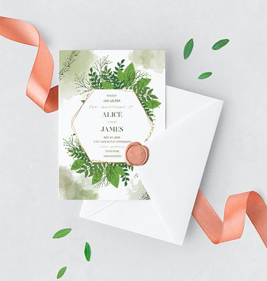 Green Floral Wedding Invitation Set
