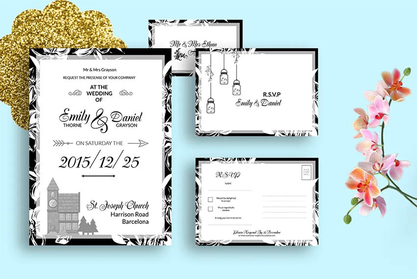 DIY Black & White Wedding Invitation PSD Template